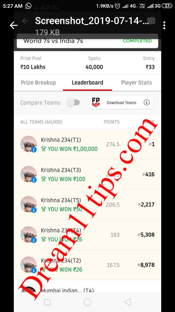 dream11 kabaddi grand league win